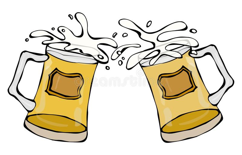 Two Beer Mugs With Light Ale or Lager. Clink with Splash. Isolated On a White Background. Realistic Doodle Cartoon Style Hand Draw vector illustration