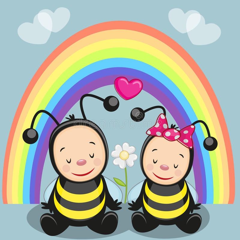 Two bees royalty free illustration