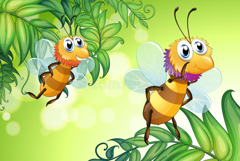 Two bees flying with many leaves stock illustration