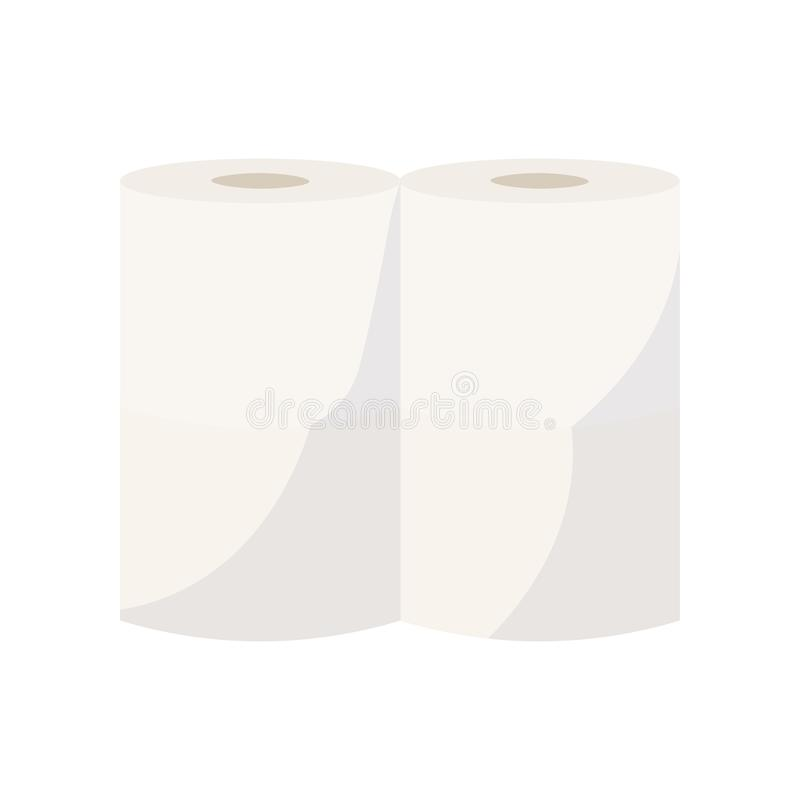 Two beige towel paper rolls close-up view isolated on white background. Two beige towel paper rolls. Consumer-size package of toilet paper. Close-up view royalty free illustration