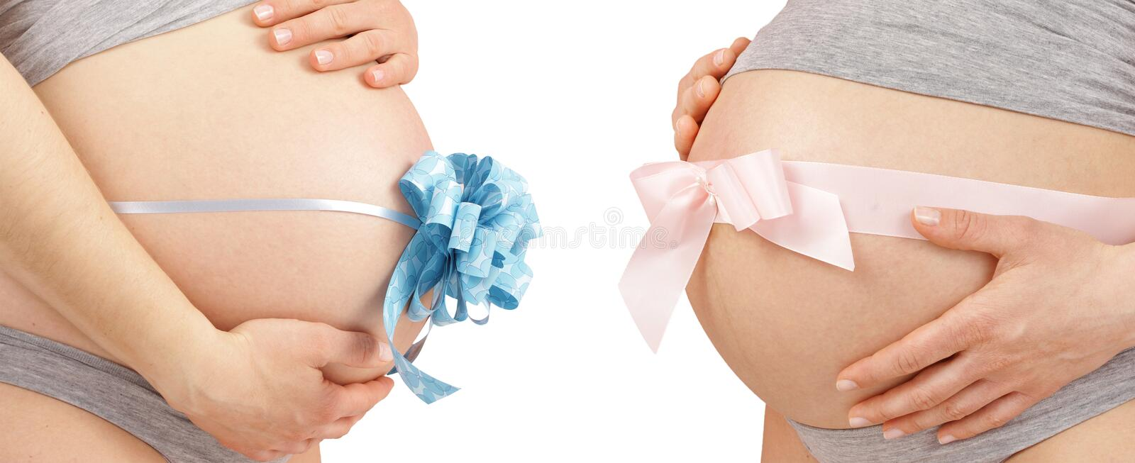 Download Two Bellys With Pink And Blue Bow Stock Image - Image: 18303927
