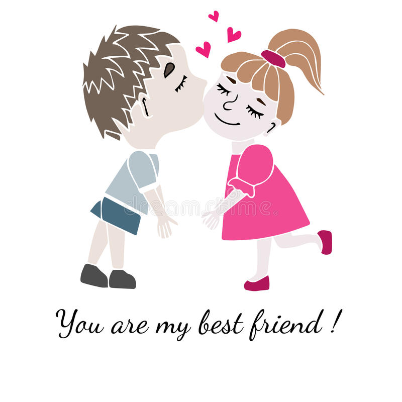 Two best friends boy and girl together with inscription You are royalty free illustration