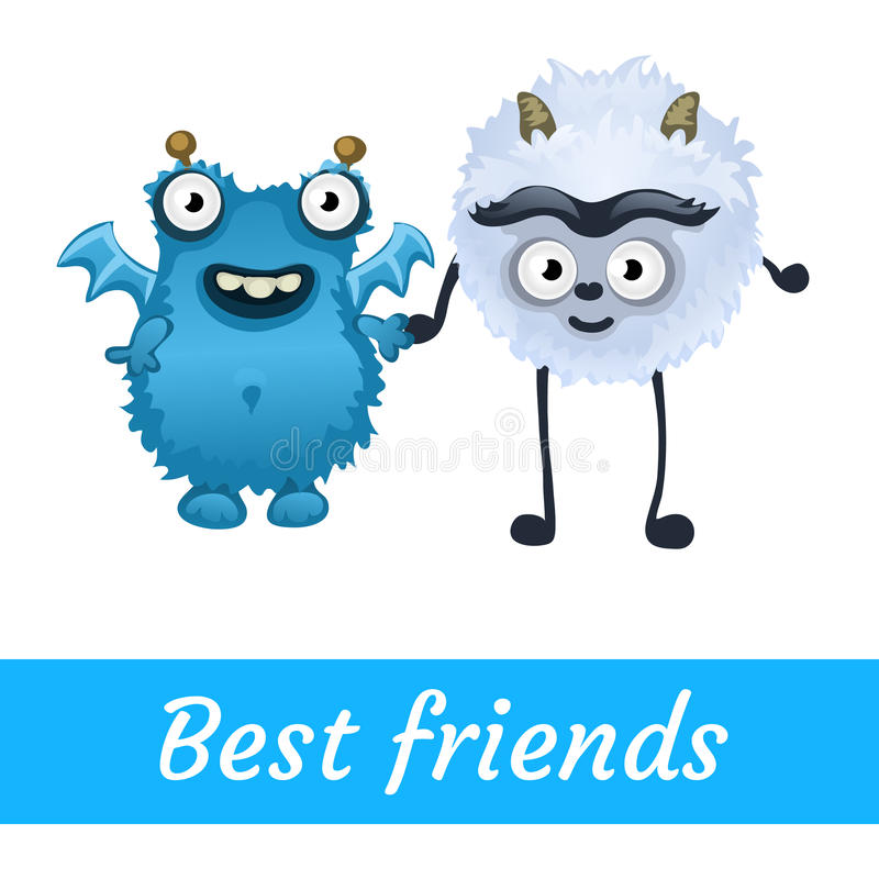 Two best friends, white and blue mutant toon vector illustration
