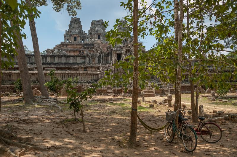 Two bicycles outside Ta Keo Temple, Siem Reap, Cambodia stock photo