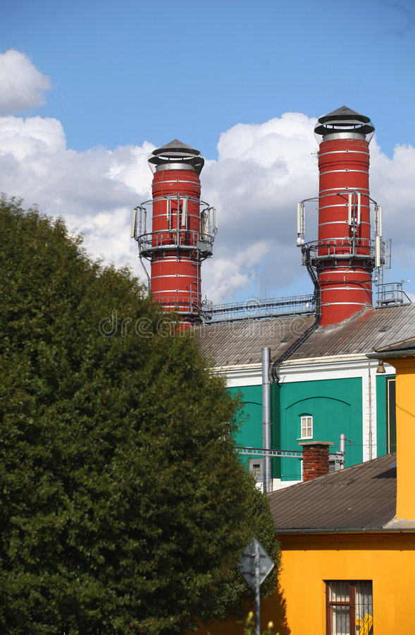 Free Two Big Chimney Of Brewery Royalty Free Stock Image - 6331026