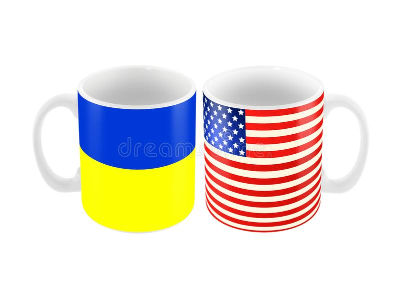Two big cup mug in color of american and ukrainian flag isolated. On white, 3d illustration stock illustration