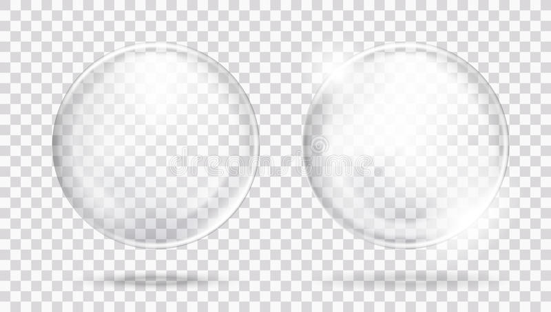 Two Big Glossy White Transparent Glass Sphere With Glares And Shadow stock illustration