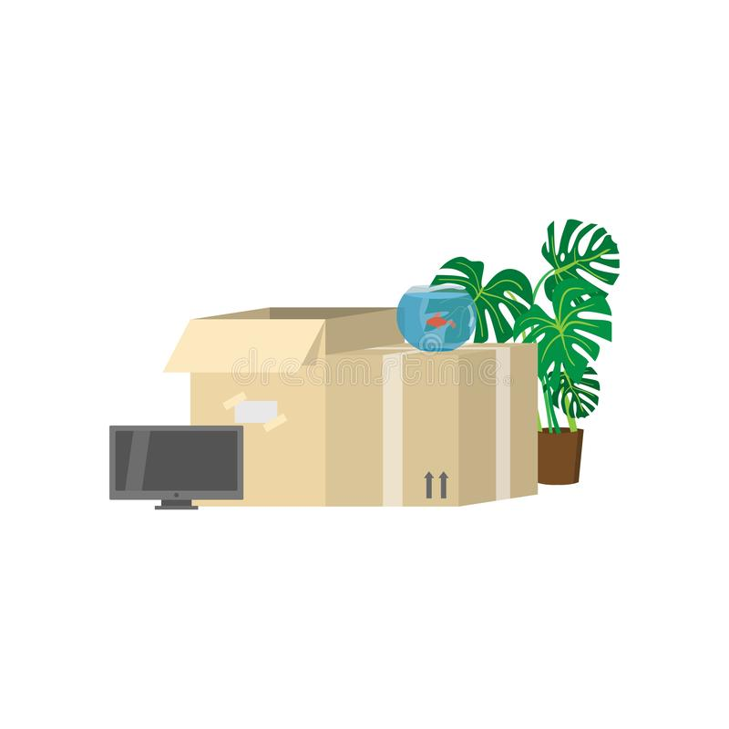 Two big packed cardboard boxes for moving to a new place with household items nearby. Such as TV-set, tall green flower with large leaves in a pot, aquarium vector illustration