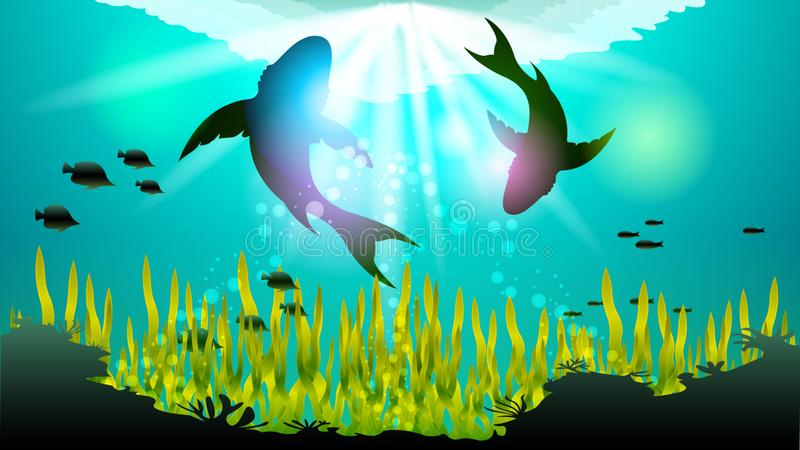 Two big sharks are circling under the water. Among the corals and algae, in the sunlight. Light effects at the bottom of the sea. Beautiful realistic vector stock illustration