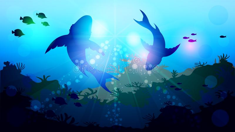 Two big sharks are circling under the water. Among the corals, in the sunlight. Light effects at the bottom of the sea. Beautiful realistic vector illustration vector illustration