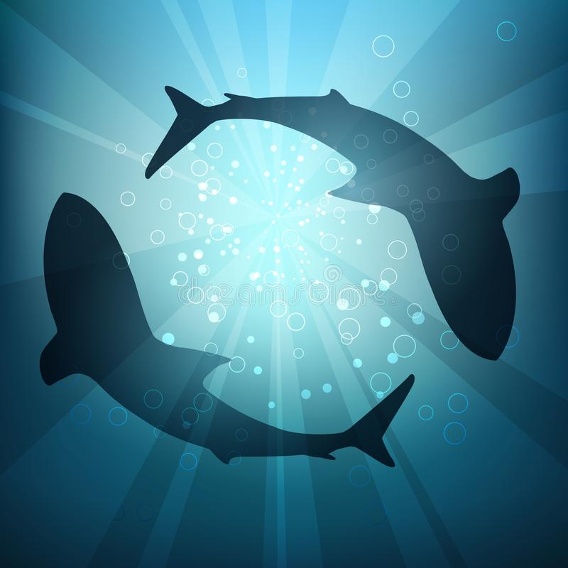 Silhouettes of Sharks in the Water. Two big sharks are circling under the water illuminated by sunlight and rays. Vector Illustration stock illustration