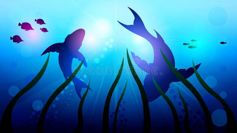Two big sharks are circling under the water. Among the corals, in the sunlight. Light effects at the bottom of the sea. Beautiful realistic vector illustration stock illustration