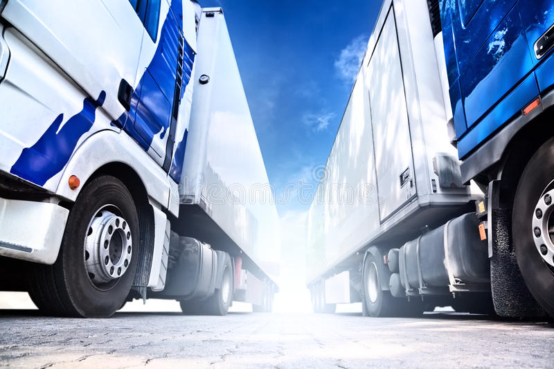 Download Two big trucks stock image. Image of perspective, angle - 14449789