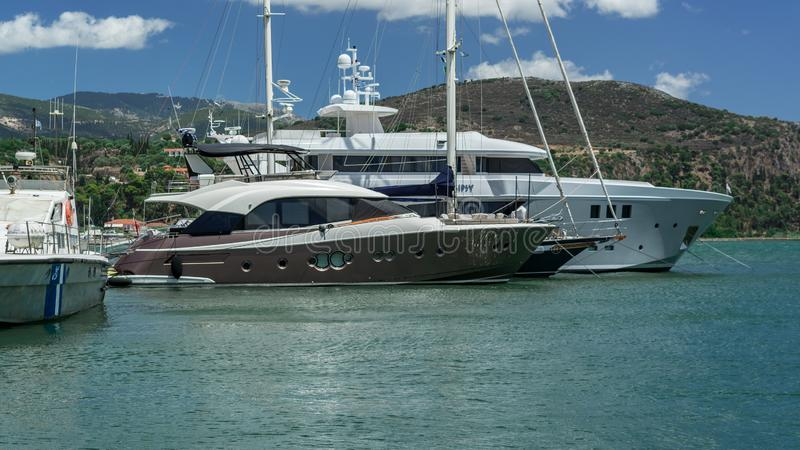 Two Yacht Argostoli capital of Kefalonia Greece royalty free stock photo