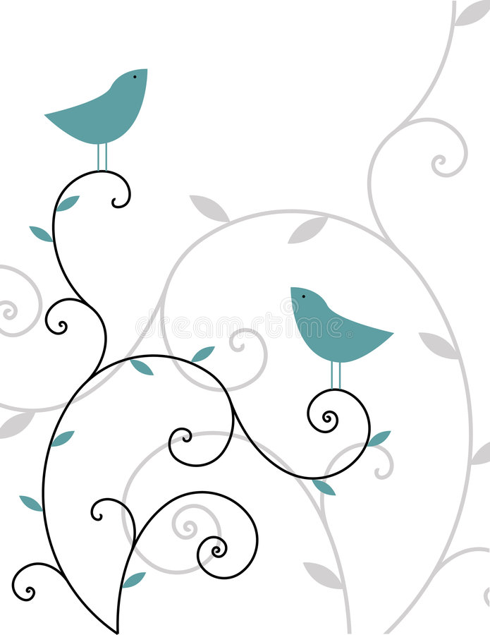 Two birds. Spring floral design with two birds