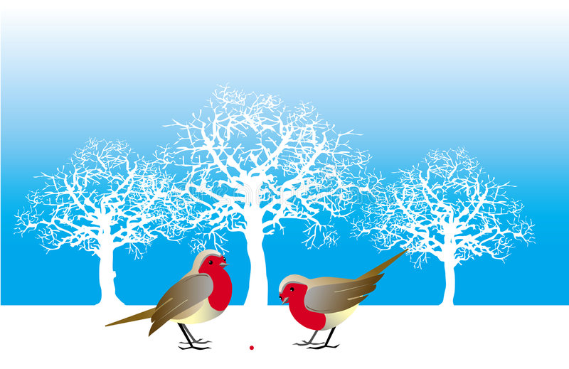 Two birds and a berry vector illustration