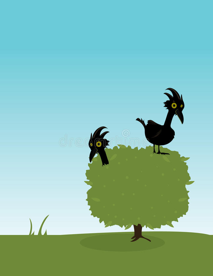 Two birds in a bush. Two birds in a green bush set outdoors royalty free illustration