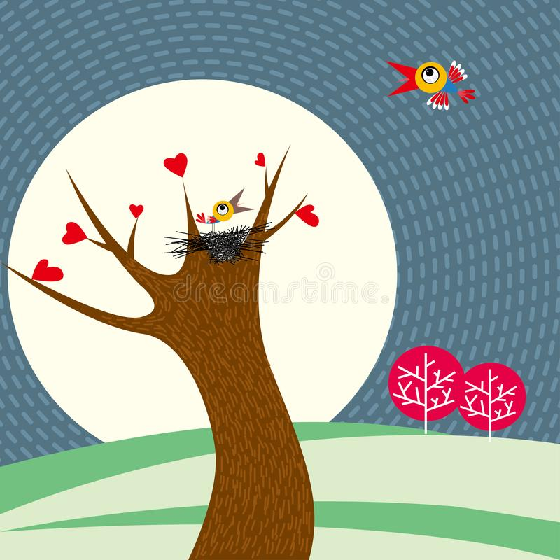 Two birds are flirting. The bird`s nest is on the tree vector illustration
