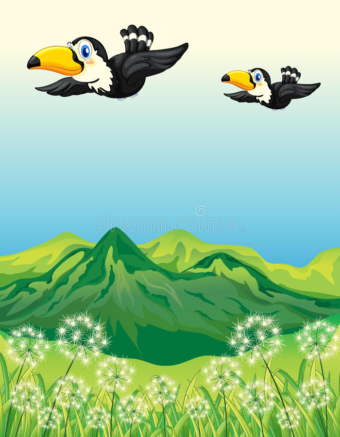 Two birds flying along the mountains stock illustration