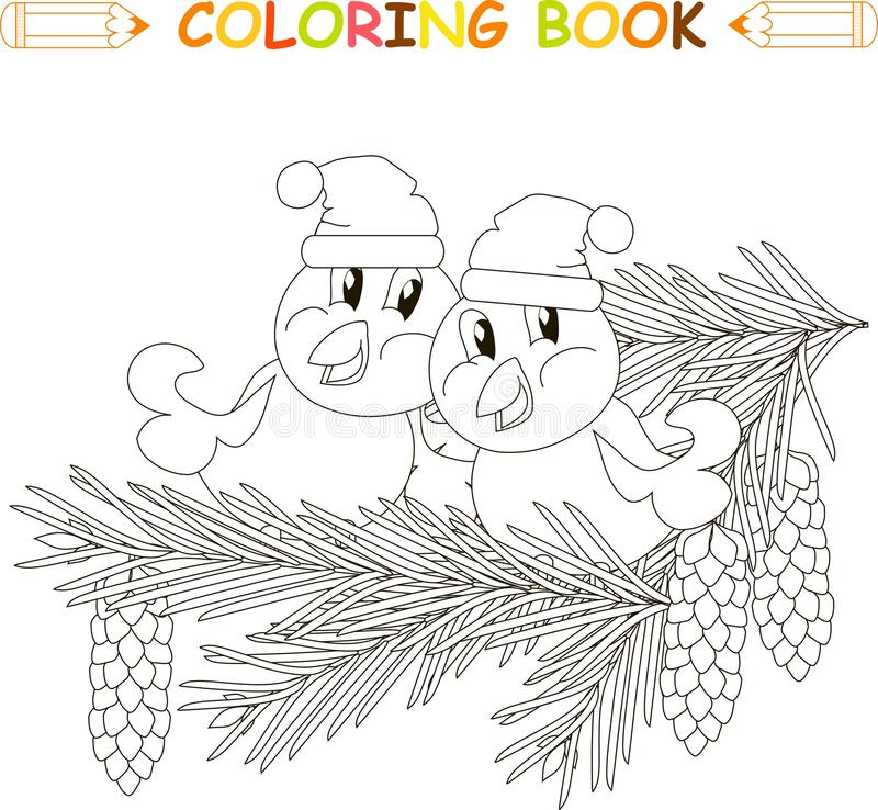 Two birds in hats sitting on fir branches with cones, anti stress black and white. Vector illustration stock illustration