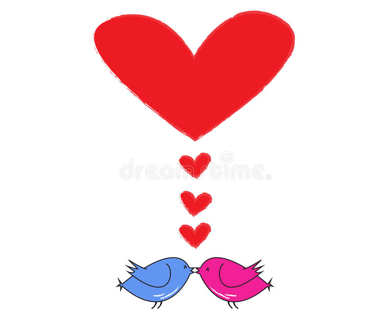 Two birds kiss with red heart stock illustration