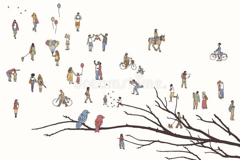 Two birds and lots of tiny people vector illustration
