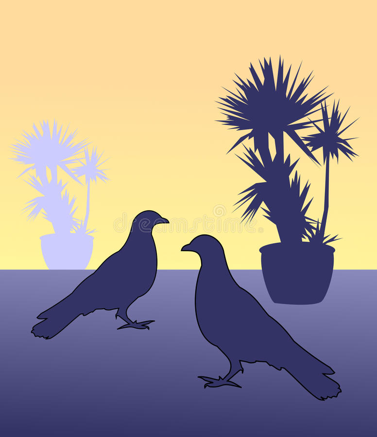 Two Birds vector illustration