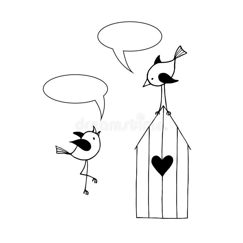 Two birds are talking. Vector illustration stock illustration