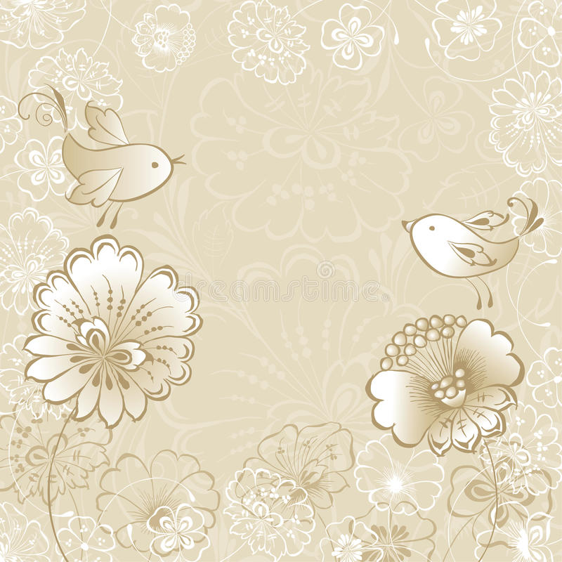 Two birds. Vector card of the decorative flowers and birds royalty free illustration