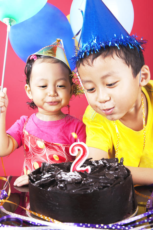 Download Two birthday party stock photo. Image of candle, daughter - 25394792