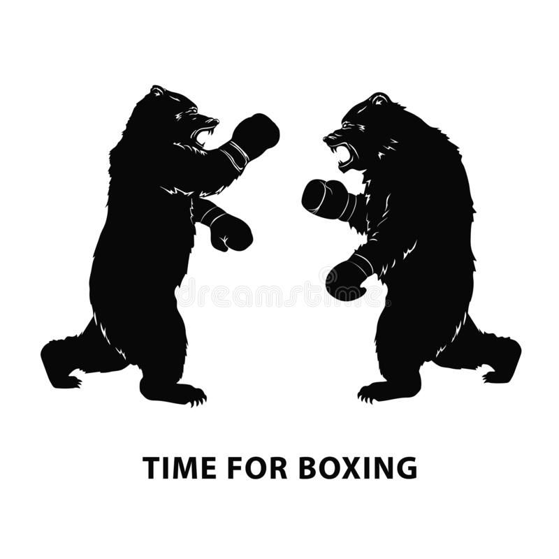 Two black bears fighting. Silhouettes of a wild animals in Boxing gloves. Growling beasts. Art design for sport event. Vector illu. Stration royalty free illustration