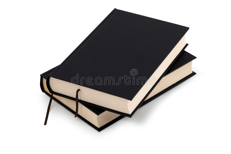 Two black books - clipping path stock images
