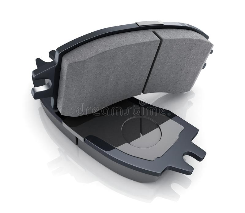 Two black brake pads on white background royalty free stock images