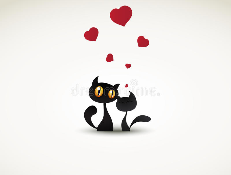 Two black cats in love