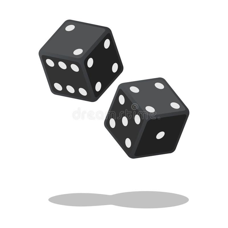Free Two Black Dices Isolated On White Background With Shadow. Dice Gambling. Black Cubes Royalty Free Stock Photos - 108721268