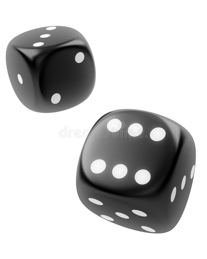 Free Two Black Dices On White Background Stock Photography - 17354072
