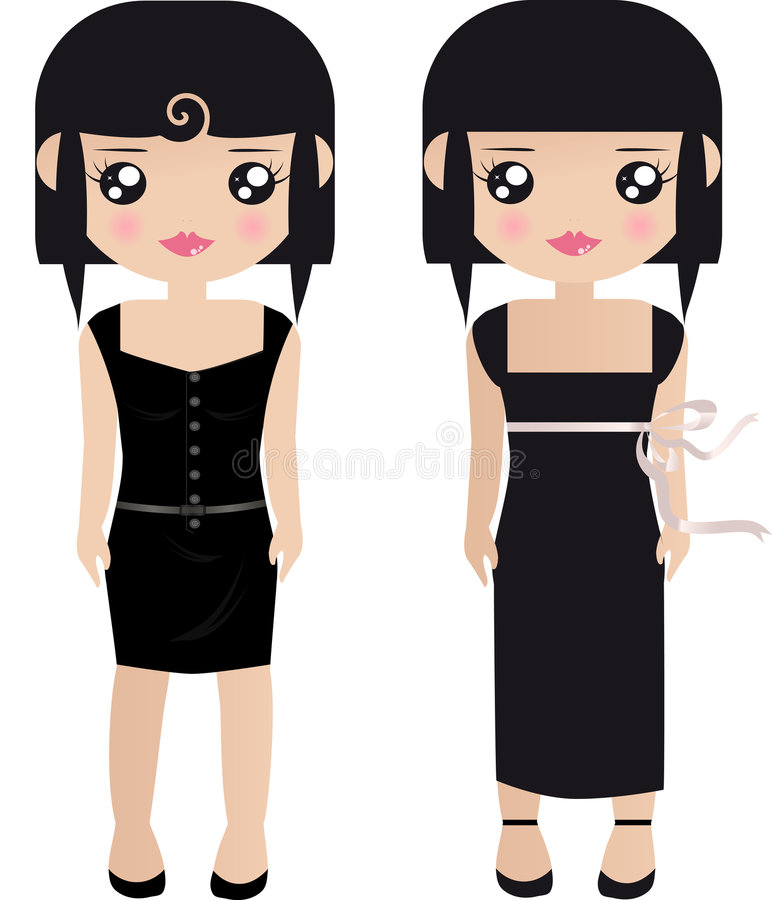 Two Black Haired Female Paper royalty free illustration