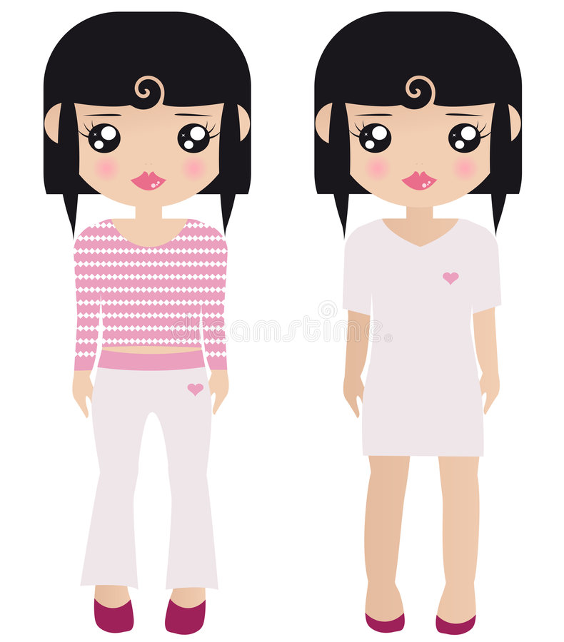 Two Black Haired Female Paper Dolls stock illustration