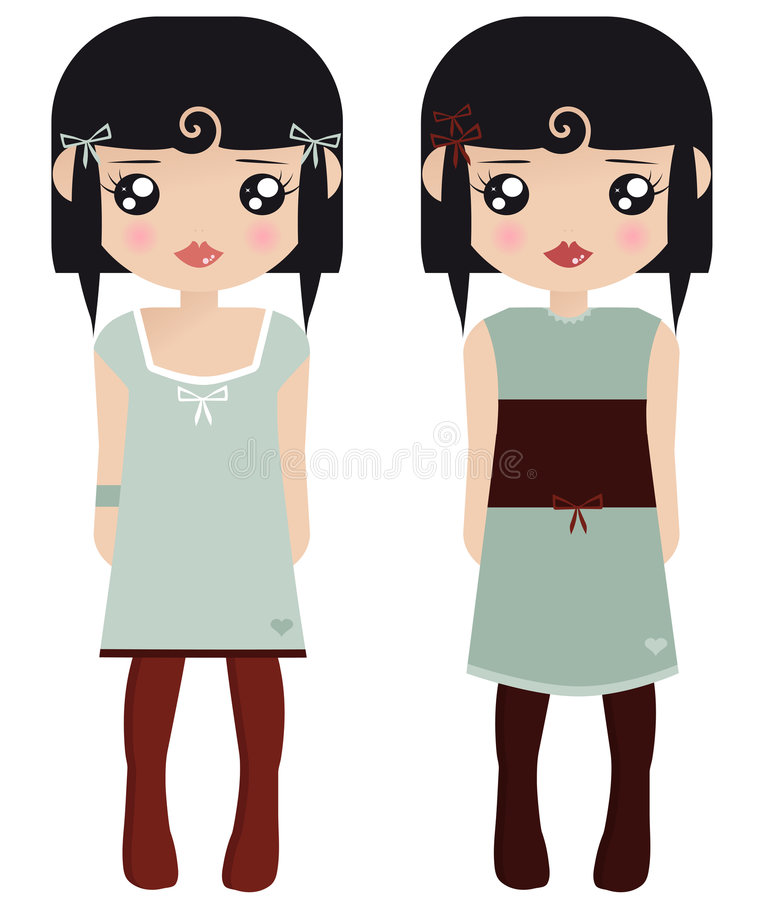 Two Black Haired Female Paper Dolls vector illustration