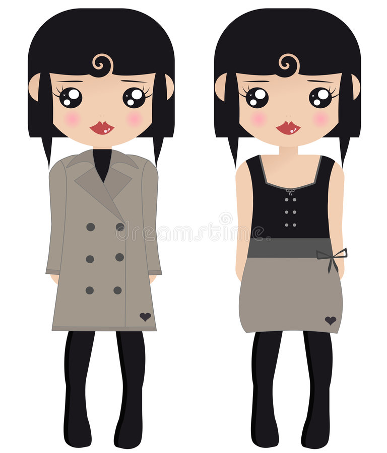 Two Black Haired Female Paper Dolls royalty free illustration