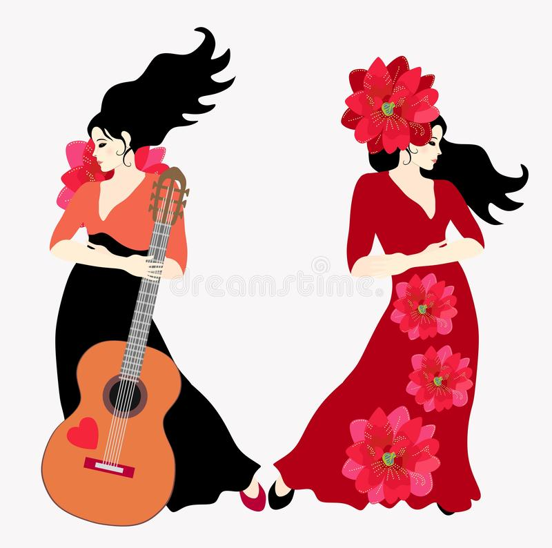 Two black-haired Spanish women wearing long dresses - a flamenco dancer and a guitarist - are posing against a light background vector illustration