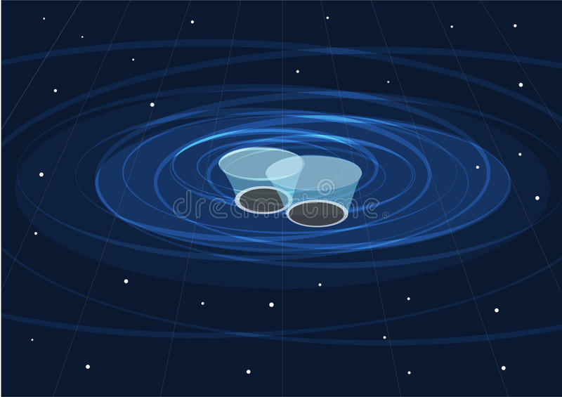 Two Black Holes Merging and Creates gravitational waves. Conceptual presentation of Gravitational Waves produced by two merging Black Holes vector illustration