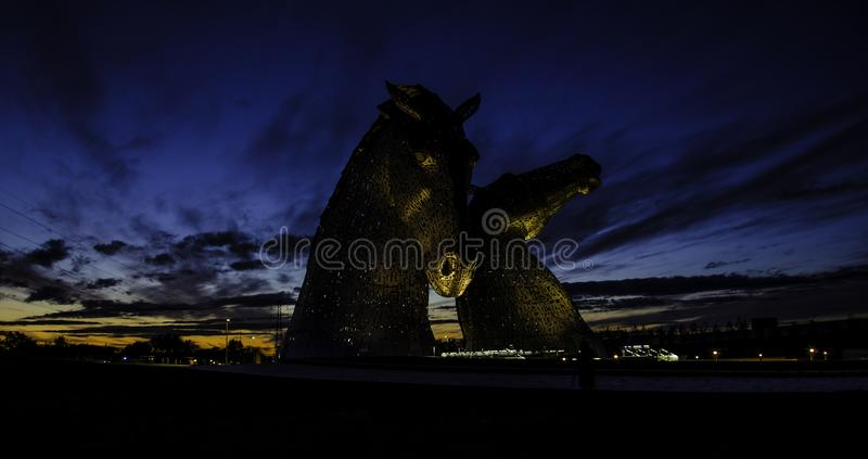Two Black Horse Statues royalty free stock photography