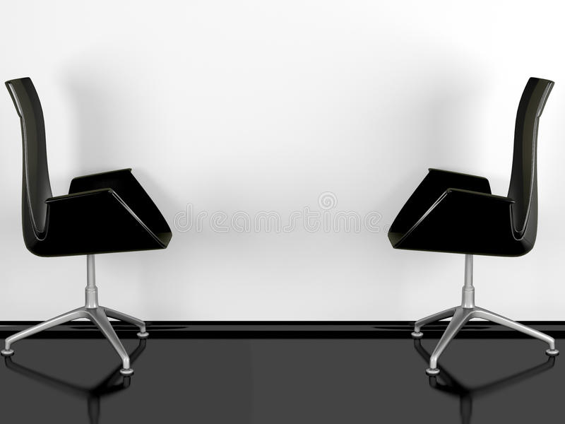 Two Black Office Armchairs Indoor Stock Image
