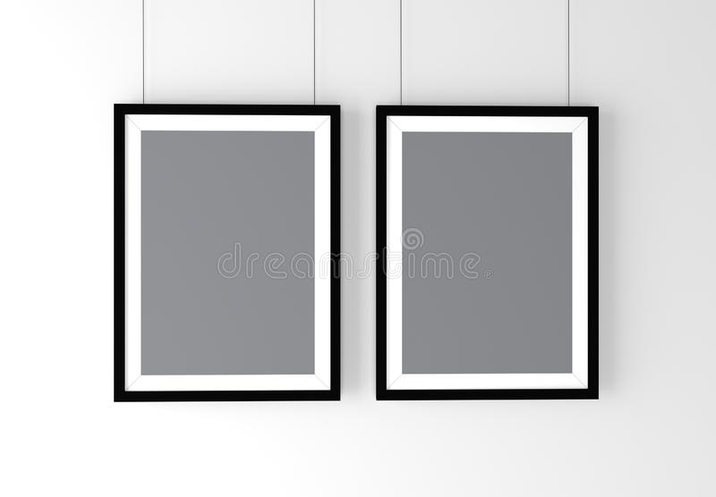 Two Black Photo Frames Mockup. High resolution 3d render. royalty free stock images