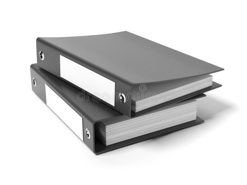 Two black ring binders vector illustration