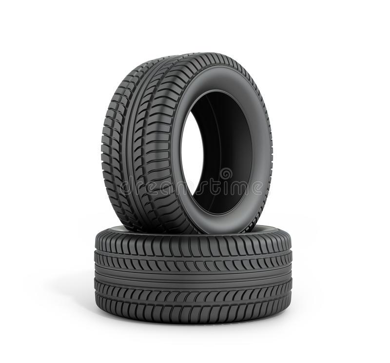 Two black rubber tires. On a white background royalty free illustration