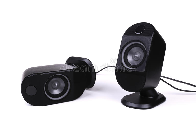 Two black speakers stock image
