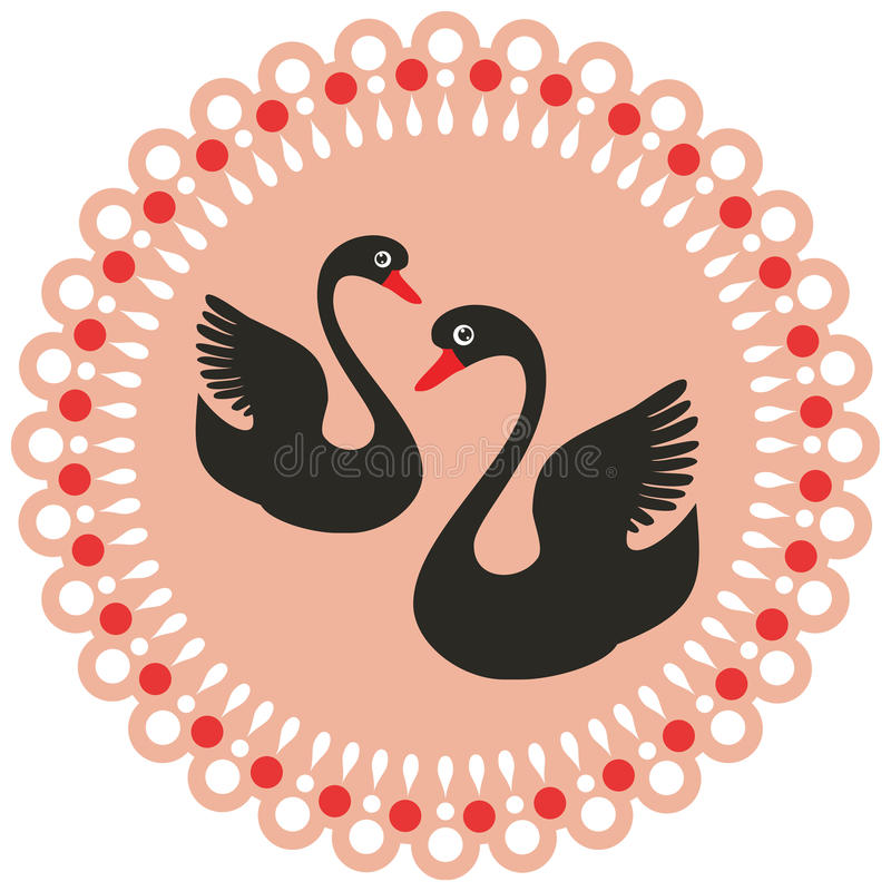 Download Two black swans stock vector. Image of label, designs - 21849492