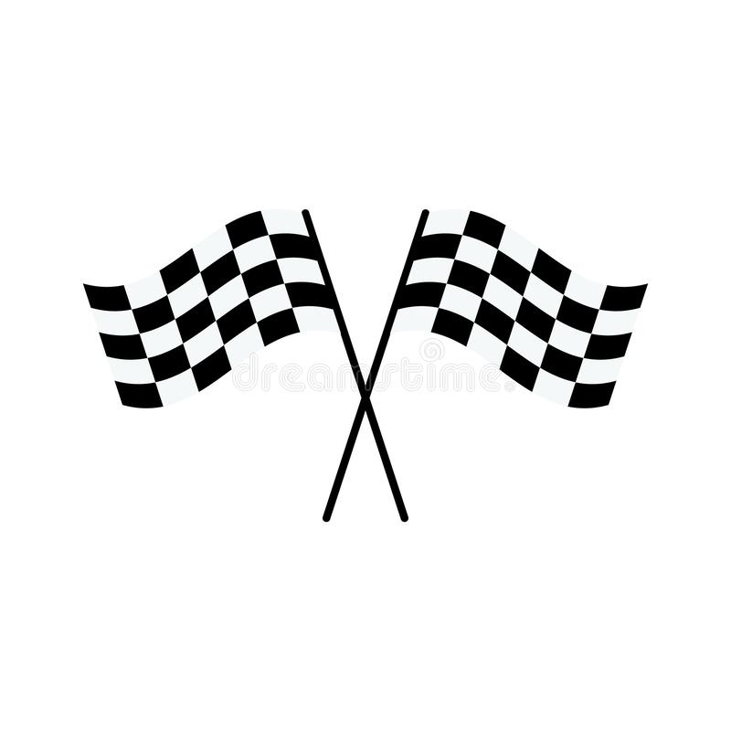 Two black and white checkered flags crossed into X shape stock illustration